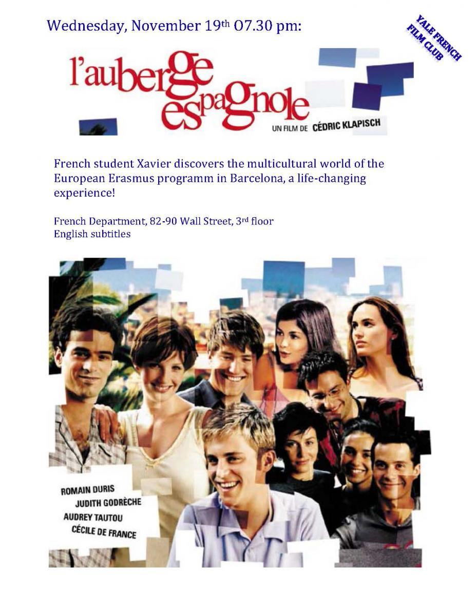Yale French Filmclub screening - L'auberge espagnole | Department of French